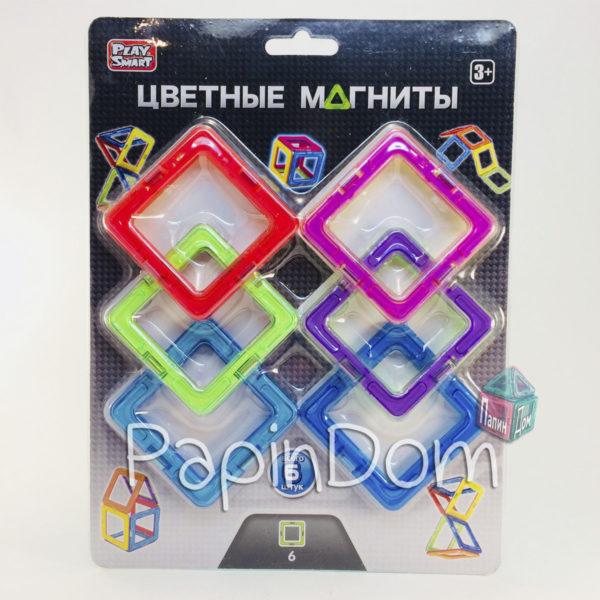 Конструктор магнитный Цветные магниты, 6 деталей