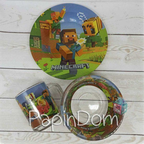 Набор детской посуды Minecraft (Майнкрафт) (стекло)