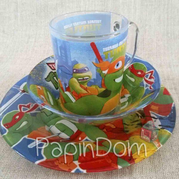 Набор детской посуды Черепашки Ниндзя (стекло) 2
