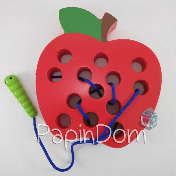 Деревянная игрушка Шнуровка яблоко, MD 1160