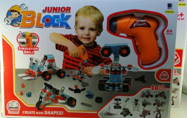 Детский конструктор Junior Block 286 деталей 10в1