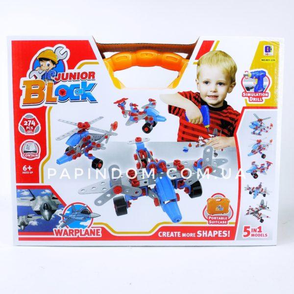 Детский конструктор Junior Block 274 деталей чемодан 10в1