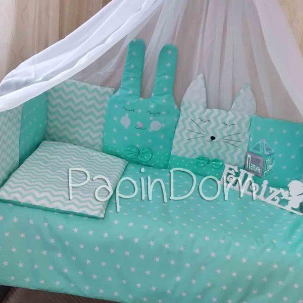 Набор в кроватку с защитой Котик и Зая