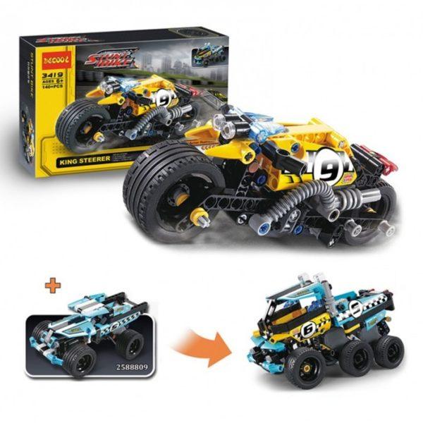 Конструктор Decool 3419 Мотоцикл для трюков 140 деталей аналог Lego Technic 42058